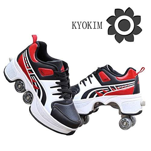 KYOKIM Schuhe Mit Rollen Skateboardschuhe,Inline-Skate,2-in-1-Mehrzweckschuhe,Verstellbare Quad-Rollschuh-Stiefel,Red-43