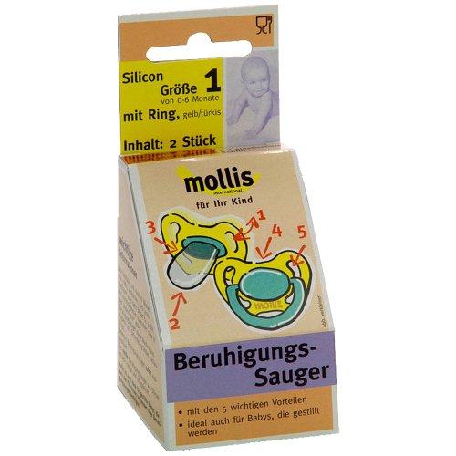 Mollis Silicon-Schnuller Gr. 1 mit Ring (2 x 2 Stk)