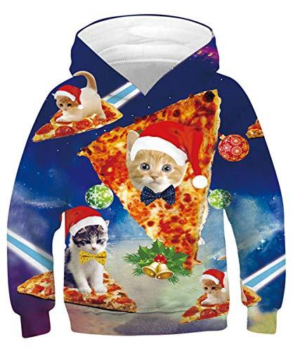 Rave on Friday Pizza Katze Hoodie Mädchen Galaxis Kapuzenpullover Weihnachten Lustiger 3D Drucker Sweatshirt 120 Langarm Pullover mit Tasche für Kinder S