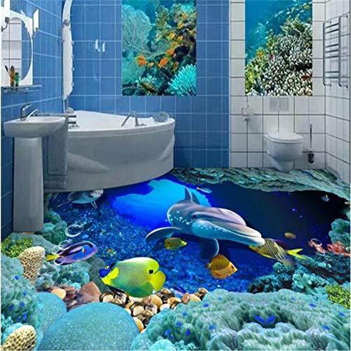 Ponana Großes Benutzerdefiniertes Tapeten-Wandbild Underwater World 3D Bathroom Flooring 3D Wall Murals-350X250Cm