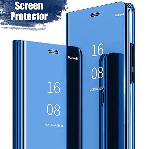 MadBee Schutzhülle für Samsung Galaxy J4 (2018) mit Displayschutzfolie und Flexibler Folie, Kunstleder Polycarbonat, blau, Samsung Galaxy J6(2018)