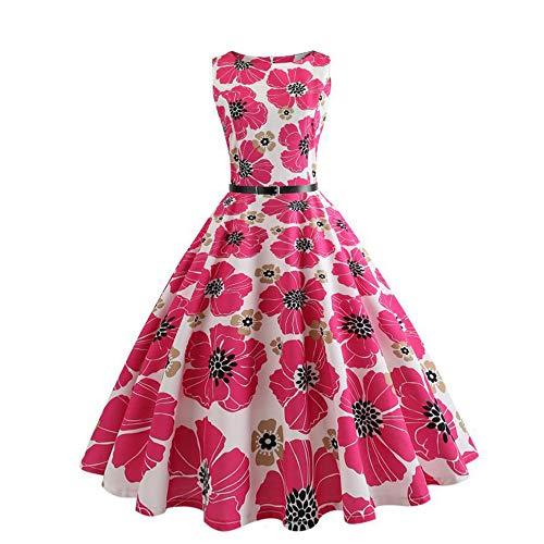 De jaren '50 stijl vrouwen jurken mouwloos bloemenprint schommel cocktail rok jurk roze, vintage, elegant