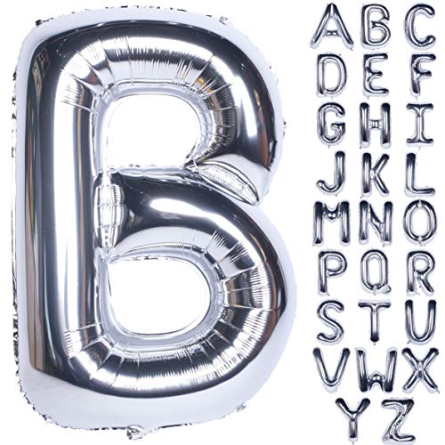 Letter Balloons 40 Inch Giant Jumbo Helium Foil Mylar for Party Decorations Silver B