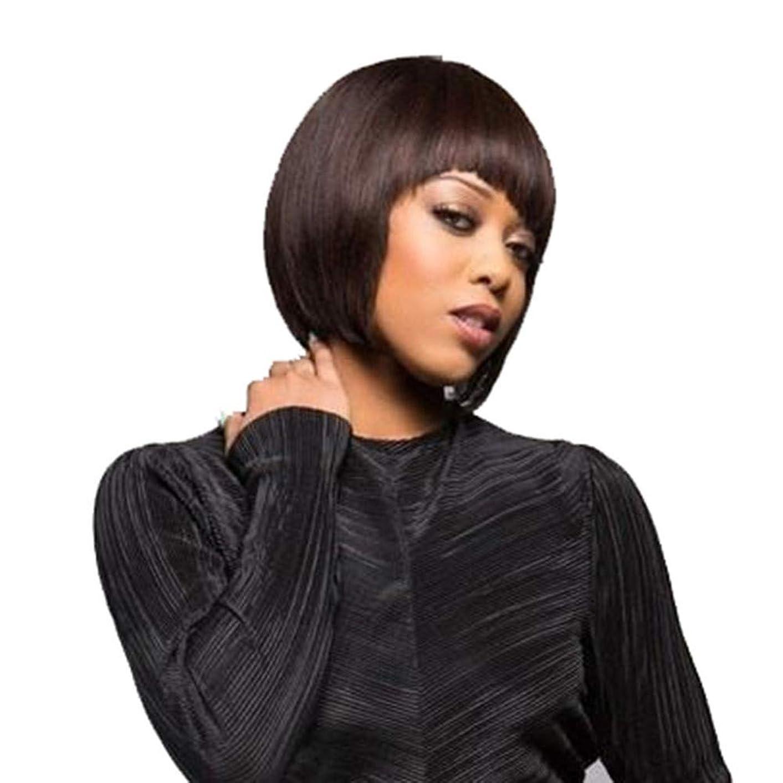 権限を与える枠採用する黒の短いストレートヘアボブヘッドファッションウィッグ