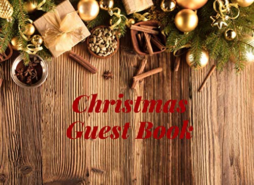 Guest Book Christmas | Golden Rustic Wood : Warm wishes for cold season: For party and seasonal celebrations