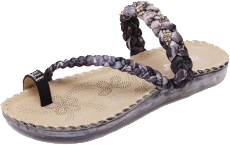 GIY Women's Bohemian Flat Summer Beach Flip Flops Sandals Rhinestone Comfort Platform Weaving Slides Thong
