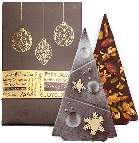 Vegane Weihnachtsschokolade - Zartbitter Nuss von Schokoladen-Sommelière Stefanie Bengelmann - Deutsche Handarbeit ideal als Geschenk - 100g