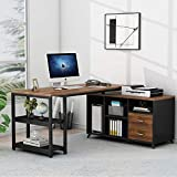 Tribesigns L-Shaped Computer Desk, 55 Inch Rotating Executive Office Desk with Drawers, Modern Corner Gaming Writing Desk with File Cabinet for Home Office Study