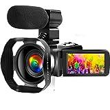 Videocámara Videocámara Ultra HD 4K con micrófono, videocámara Vlogging de 48MP con videocámara con Pantalla táctil de 3.0 Pulgadas con Control Remoto 2.4G