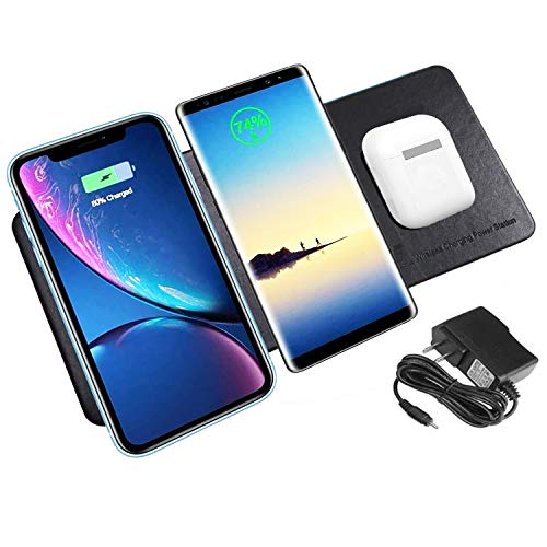 MIELED Wireless Charger Station Pad Qi-Certified Ultra-Slim Triple Wireless Charging Station for Multiple 3 Devices & New Airpods Ultra Slim Leather Mat W/AC Adapter for All Qi Enabled Phones