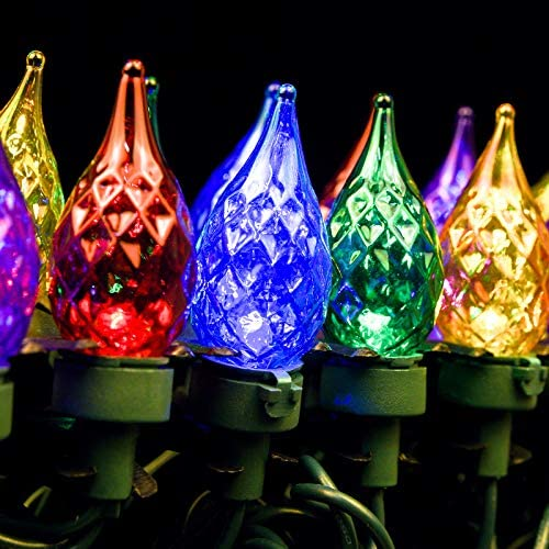 Lycklig LED Christmas String Lights Multi Color 13 6ft 35Leds Faceted Pearl Glass C6 Bulbs Outdoor product image