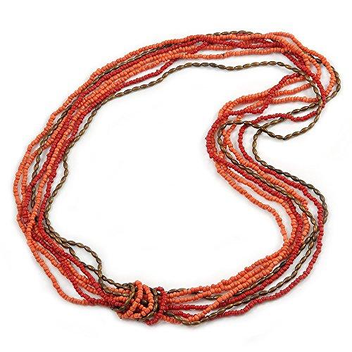 Collar largo de varias hebras de salmón rosa, coral y bronce, cuentas acrílicas, 90 cm de largo