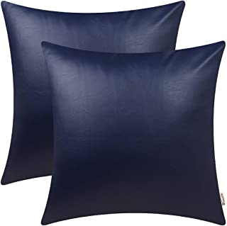 BRAWARM Pack of 2 Cozy Throw Pillow Covers Cases for Couch Sofa Bed Solid Faux Leather Soft Luxury Cushion Covers Both Sides Home Decoration 18 X 18 Inches Navy Blue