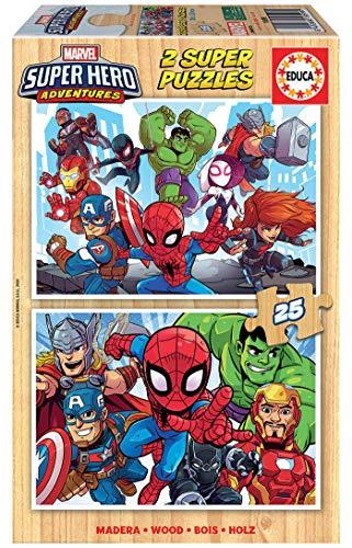 Educa- Marvel Super Heroe Adventures 2 Puzzles Infantiles de Madera ecológica de 25 Piezas, a Partir de 3 años, Multicolor (18599)