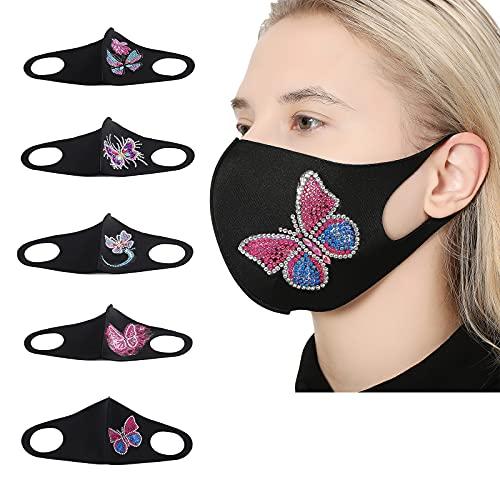 5 paquetes de kit de pintura de diamante para adulto, DIY 5D Diamond Face Mascarillas decoración para mujer, reutilizable transpirable algodón mariposa bordado máscara