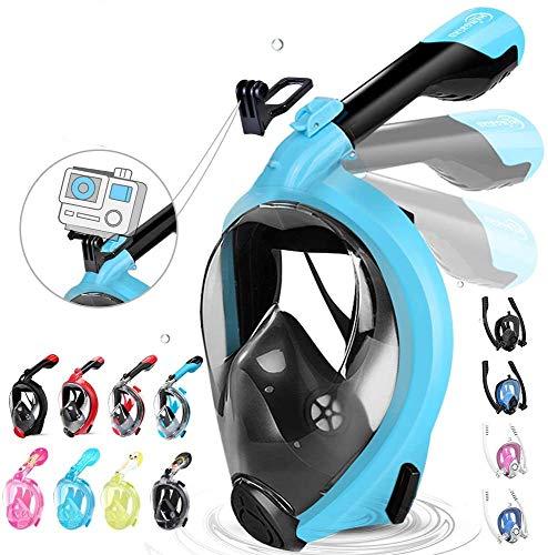 HENGBIRD Tauchmaske für Kinder und Erwachsene Müheloses Atmen mit Aktivgopro Halter 180° Sichtfeld Faltschnorchel Antibeschlag Silikondichtlippe Schnorchelmaske Taucherbrille (Blau L/XL)