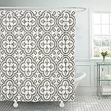 YEDL Retro weißer Klee in Reihenform auf grau-braunem Duschvorhang Wasserdichtes Polyestergewebe mit Haken 180 × 180 cm