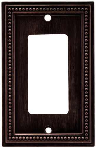 Brainerd 64405 Beaded Single Decorator Wall Plate / Switch Plate / Cover, Venetian Bronze