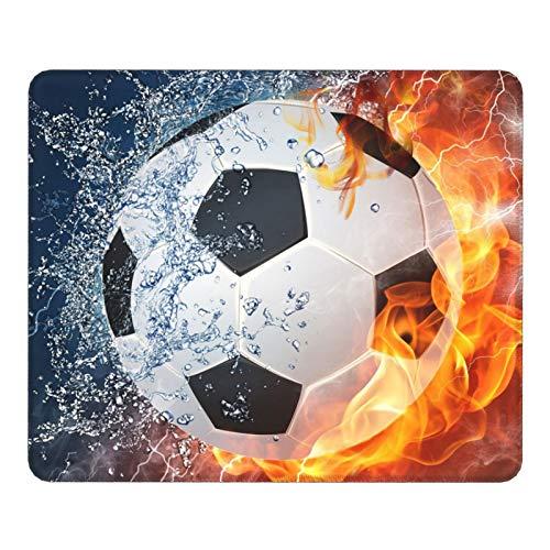 Gaming Mauspad - Klein Office Mousepad Wasserdicht - Genähten Kanten und Rutschfestem - Mouse Pad mit Motiv Cool Fußball für Laptop, Computer & PC - 200 x 250 x 3 mm