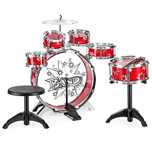 Best Choice Products 11-Piece Kids Starter Drum Set w/Bass Drum, Tom Drums, Snare, Cymbal, Stool, Drumsticks - Red