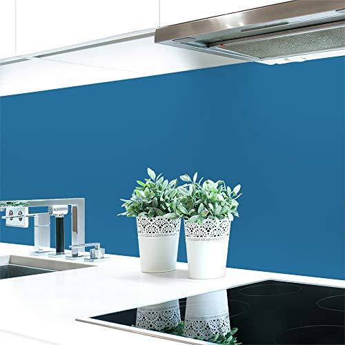 Keuken achterwand blauwe tinten 2 effen kleuren premium hard PVC 0,4 mm zelfklevend - direct op de tegels 220 x 60 cm verrekijker blauw