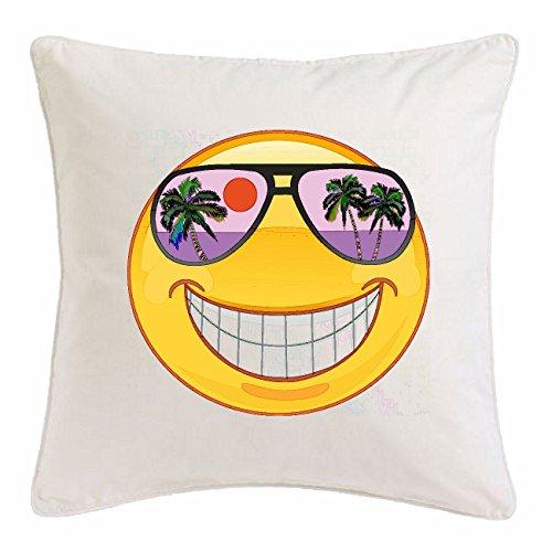 Reifen-Markt Funda de la Almohada 40x40cm Sonriente EN Vacaciones en Hawai con Gafas de Sol Smiley Smilies Android iPhone EMOTICONOS iOS sa Sonrisa Emoticon App de Mik