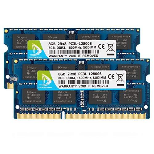 DUOMEIQI 16 GB (2 x 8 GB) DDR3L   DDR3 1600 MHz SODIMM PC3L   PC3-12800 2Rx8 1,35 V   1,5 V CL11 204 Pin Non-ECC Unbuffered RAM Notebook Modulo di Memoria per Notebook per Mac, Intel e Sistema AMD