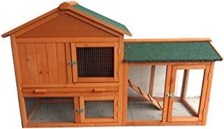 New 140cm Rabbit Guinea Pig Hutch Wood Cage Chicken Ferret Coop