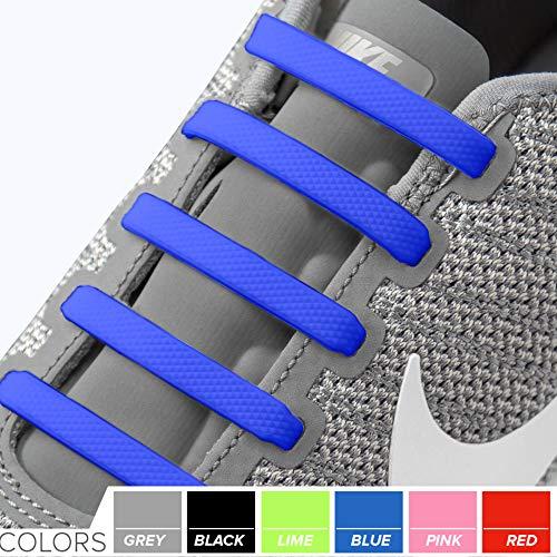 2SPORTIFY Schnürsenkel für Kinder und Erwachsene – Tieless elastische Schnürsenkel für Sneaker, Silikon, Flache Schnürsenkel, 2 Stück, Black + Dark Blue