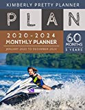 5 year monthly planner 2020-2024: 2020-2024 Monthly Planner Calendar | 5 Year Planner for 60 Months with internet record page | jetski anchor design