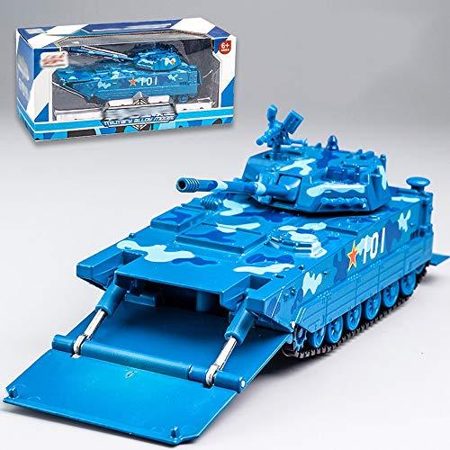 Xolye Legierung amphibische Landung Tank Model Tarnung Blau Ton und Licht Kinder Boy Metall Spielzeugauto Raupen Pull Back Tank Car Neuer Jahr-Geschenk (Color : Camouflage Blue)