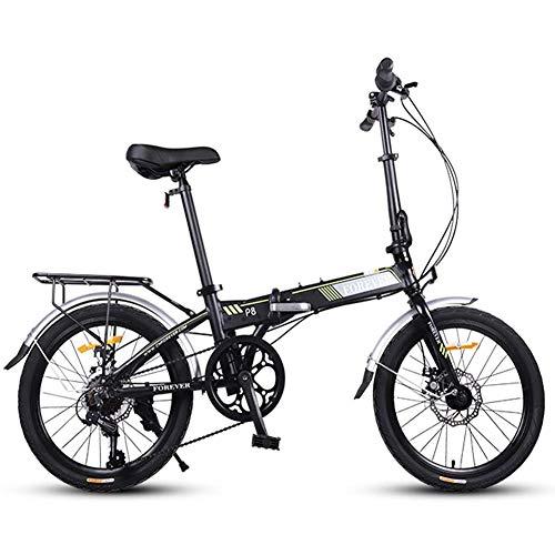 Xiaoyue Faltrad, Erwachsene Frauen Leichtgewichtler faltbares Fahrrad, 20 Zoll 7-Gang Mini Bikes, verstärkter Rahmen Pendler Fahrrad, Aluminiumrahmen, orange lalay (Color : Black)