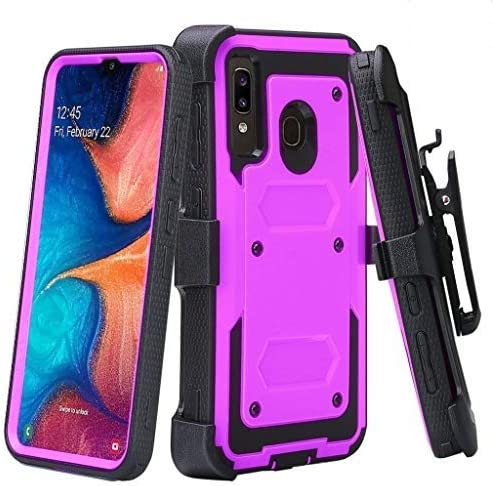 Case for Alcatel 3V 2019 Case, Built-in [Screen Protector] Heavy Duty Holster Cover [Belt Clip][Kickstand] - Purple