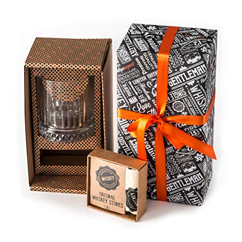 Juego de Regalo Whiskey | Vaso de Whiskey Grande Estilo Antiguo | 12 pzas Piedras de Whiskey con Caja de Regalo | Regalo...