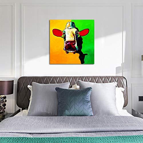 Hell Wand Dekoration Tiere Bild Handgemalte Bunten Kuh Familie Kreative Dekor Malerei Schön Leinwand Kunst Gemälde,Noframe,90x90cm