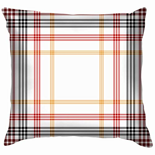 Moily Fayshow Tartan Plaid Pillow Case Throw Pillow Cover Square Cushion Cover 16X16 Inch
