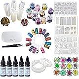 5X 30 ml de resina epoxi cristalina, pegamento UV, 24 piezas de decoración, 15...