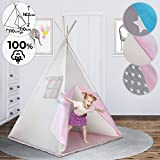 Teepee pour Enfant - avec Fond, Fenêtre, Porte, 110x110x162cm, 100% Coton, Design au Choix, avec ou...