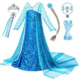 This gorgeous shining long cape dress come with tiara, wand, wig, necklace, ring, bracelet, eardrops, gloves accessories sets, your little girl will love it. Rhinestones decorated neckline printed chest and mesh sleeves, high quality sparkling sequin...