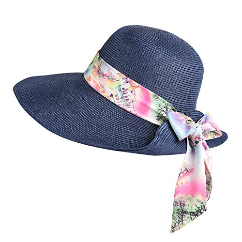 fyrcm Sombrero Grande Visera Sombrero al Aire Libre Viaje Paja Sombrero Arco Cinta decoración Grande Papel crepé Sombrero Azul Beige 57 cm, Azul