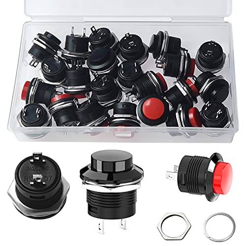 24 botones de presión AC 250 V 3 A/125 V 6 A botón de bocina redondo momentáneo 20 mm Push Button Interruptor Interruptor para coche barco DIY con caja (rojo/negro)