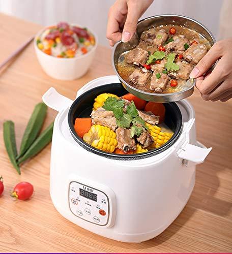 Cuiseur à riz intelligent de 2 litres, cuiseur à vapeur, cuiseur lent, mini rendez-vous multi-fonction chronométré 1~4 personnes (Couleur : Blanc)