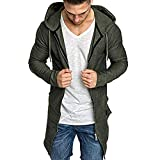 Men Outwear Splicing Hooded Solid Trench Coat Jacket Cardigan Long Sleeve Blouse Army Green