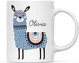 Andaz Press Personalized 11oz. Funny Coffee Mug Gag Gift, Blue Llama Graphic, 1-Pack, Llama Alpaca Themed Birthday Party Christmas Gift Ideas, Custom Name
