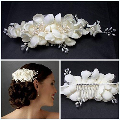 Miya® Mega Glamour peigne à cheveux fait à la main, avec fleurs en tulle Ivoire Blanc en dentelle, perle et cristal, mariage cérémonie mariée cheveux bijoux