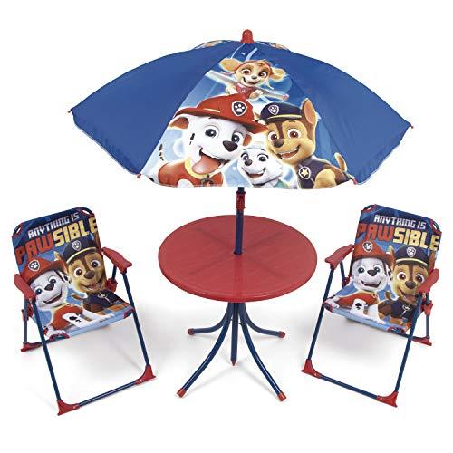 ARDITEX PW13029 Set de Mesa (50x50x48cm), 2 Sillas (38x32x53cm) y Sombrilla (diámetro 110cm) de Nickelodeon-Patrulla Canina
