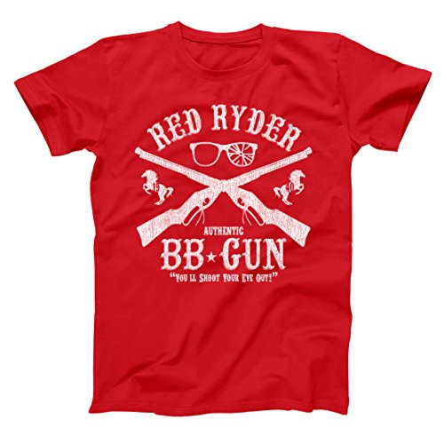 Red Ryder BB Gun Christmas Holiday Movie Retro Old School Shoot Eye Out Classic Xmas Ugly Sweater Party Humor Mens Shirt Small Red