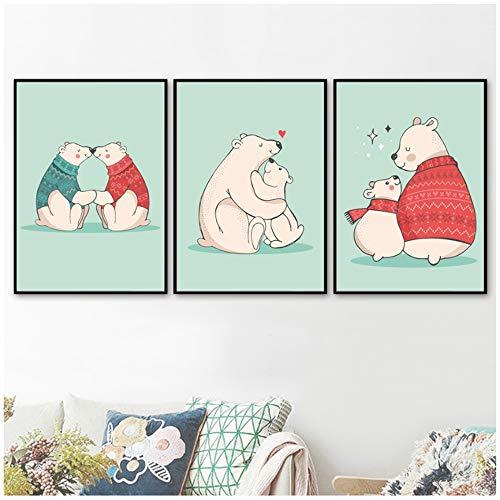 """NIEMENGZHEN Drucken Sie auf Leinwand Cartoon Loving Heart Bear Nordische Poster und Drucke Wandkunst Bilder Kinderzimmer Baby Boy Mädchen Zimmer Dekor 15,7\""""x 23,6\"""" (40x60cm) x3 ohne Rahmen"""