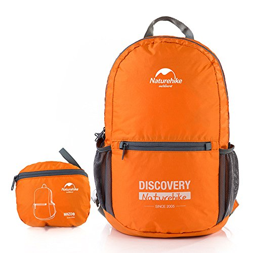 Ultralight Travel Daily Folding Backpack Rucksack Daypack portable foldable Sport Trekking Camping Outdoor Waterproof 15L (Orange)
