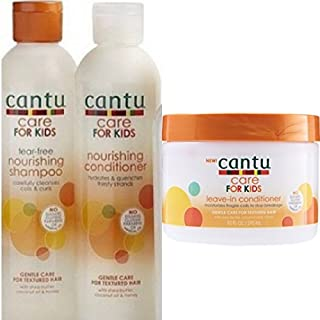 Cantu Care For kids Gentle Care For Textured Hair Shampoo + Conditioner + Leave In Conditioner Set Of 3